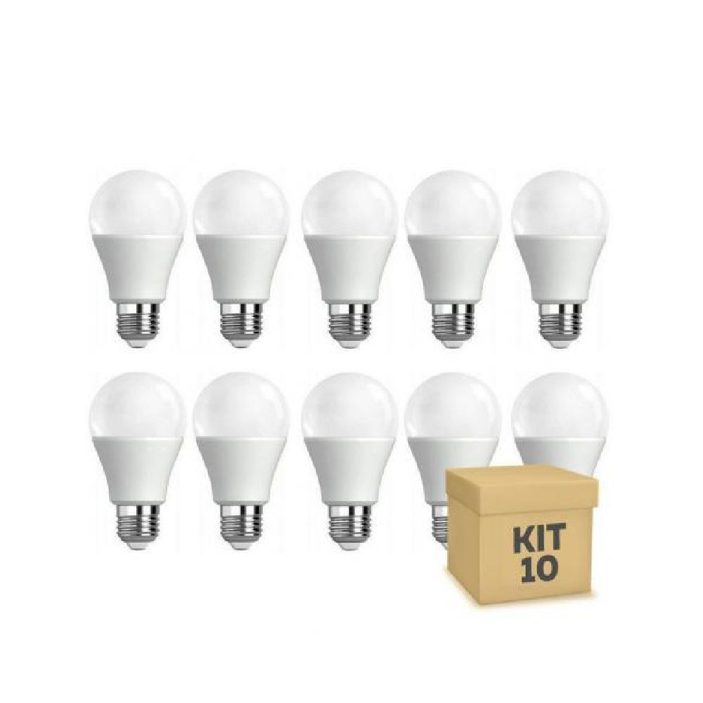 Kit 10 Lâmpadas Led Bulbo E27 9w Bivolt  Luz quente 3500k
