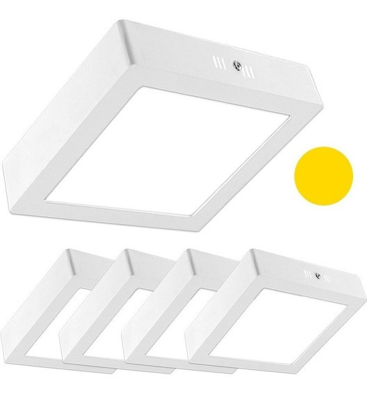 Kit 10 Luminárias  plafon LED 12w Quadrado De Sobrepor Teto - Luz Branca quente