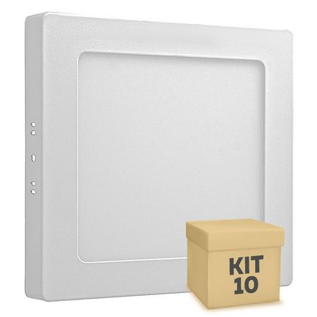 Kit 10 Painel Plafon Led 18w Quadrado Sobrepor Branco Frio - 6000k