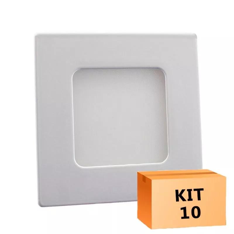 Kit 10 Painel Plafon Led 3w Quadrado Embutir Luz Neutra 4500k