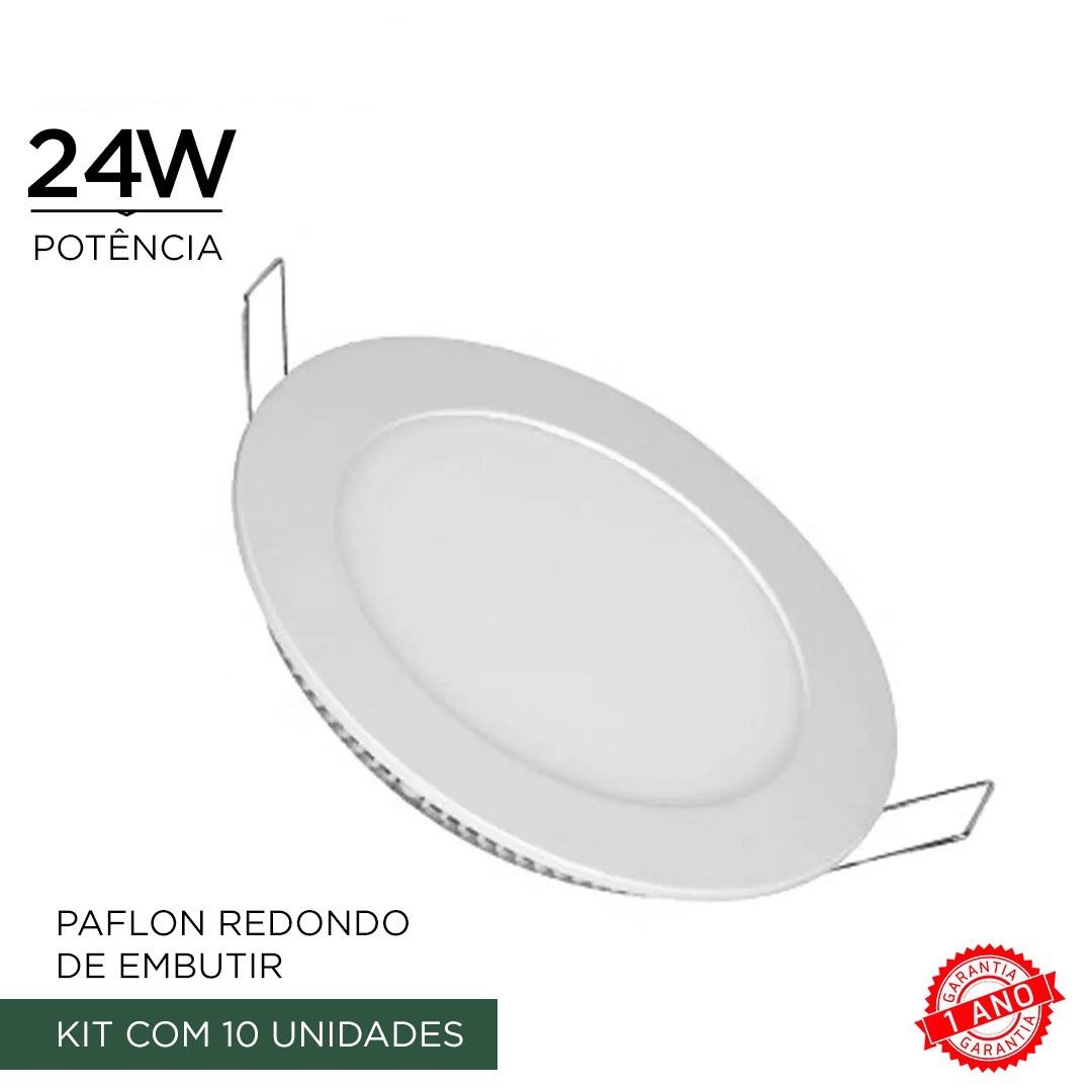 Kit 10 Painel Plafon Luminaria Led 24w Redondo Embutir Branco frio