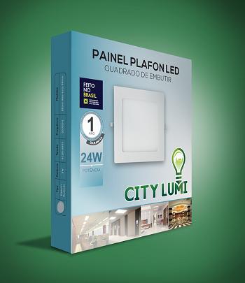 Kit 10 Painel Plafon Luminária Led Quadrado Embutir Slim 24w LUZ QUENTE