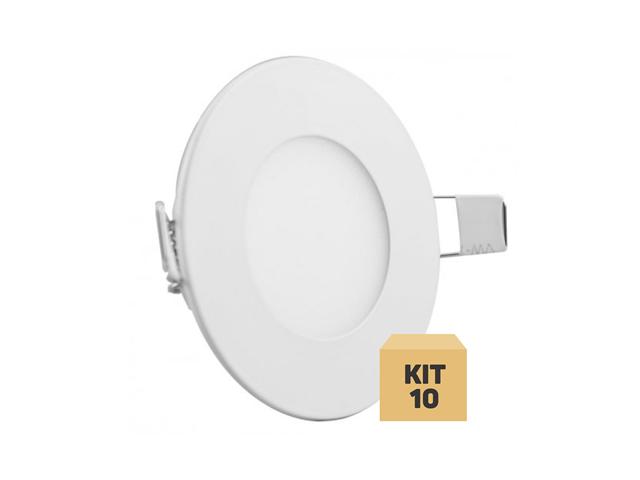 Kit 10 painel Plafons LED  Embutir Redondo - Luz neutra  4500k