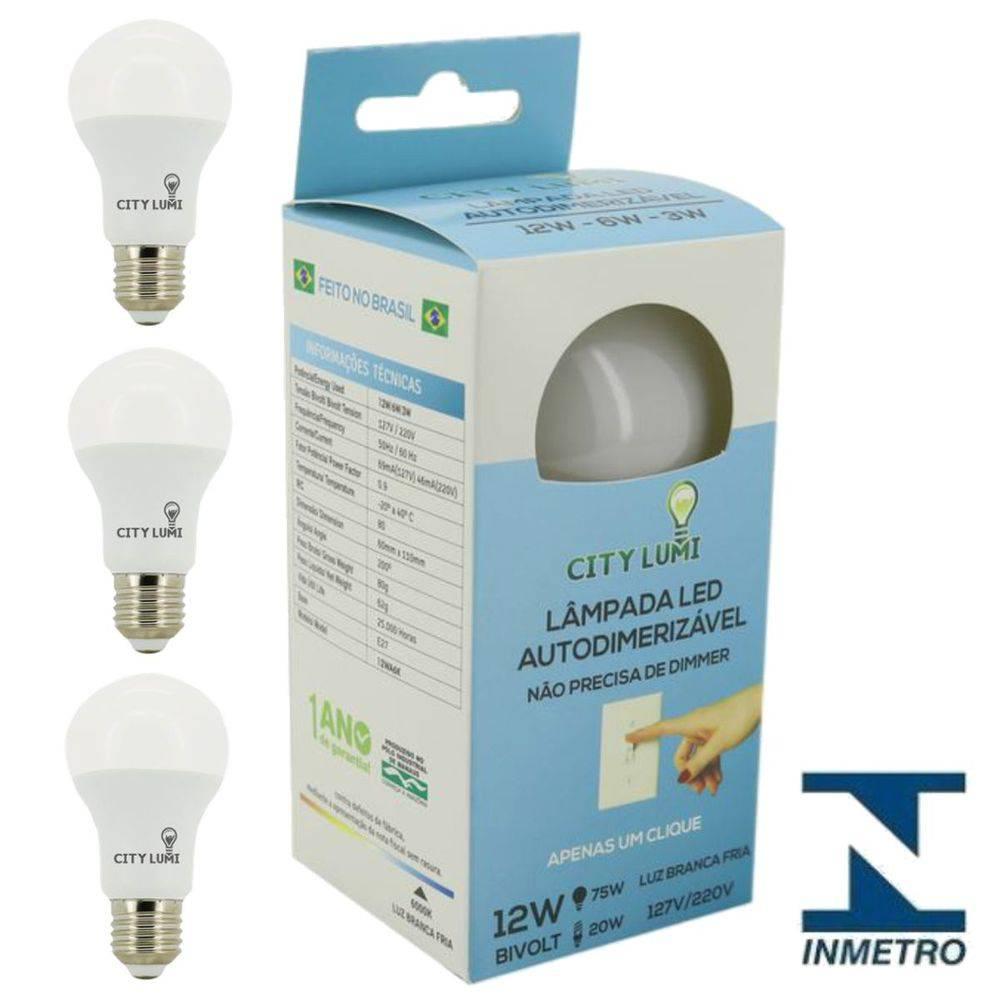 Kit 3 Lâmpadas LED Bulbo Autodimerizável  12w - Luz Branca fria - 6500k