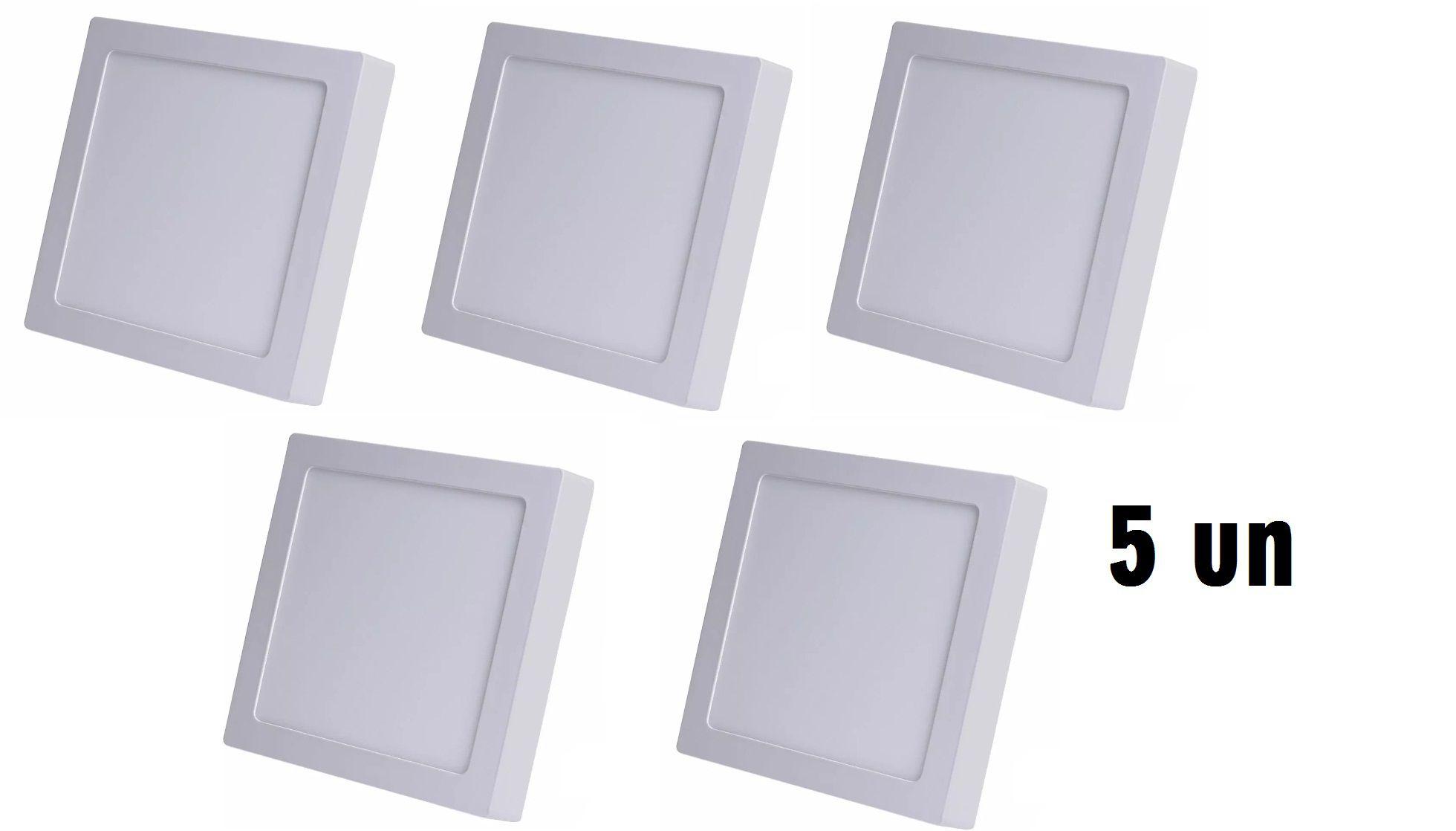Kit 5 Plafons Led 12w Quadrado De Sobrepor Teto- Luz branca fria