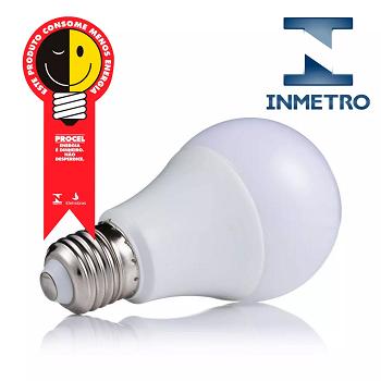 Lâmpada Led Bulbo  9W 6500K/3500K/4500K - 3 cores / Com INMETRO e PROCEL