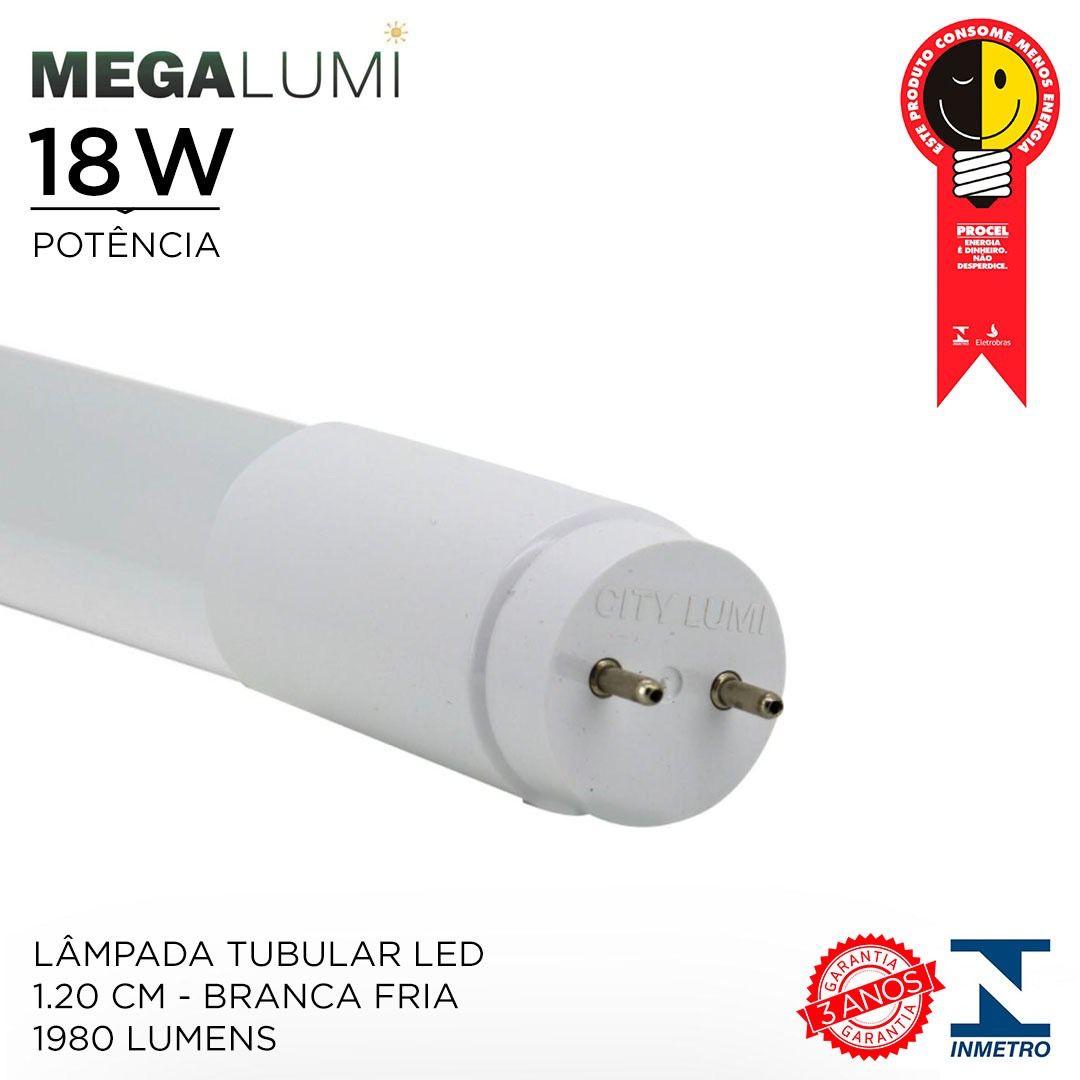 Lâmpada Tubular Led T8 18w 1,20cm 1980 LUMENS Luz Branca fria - Bivolt - Com INMETRO e PROCEL