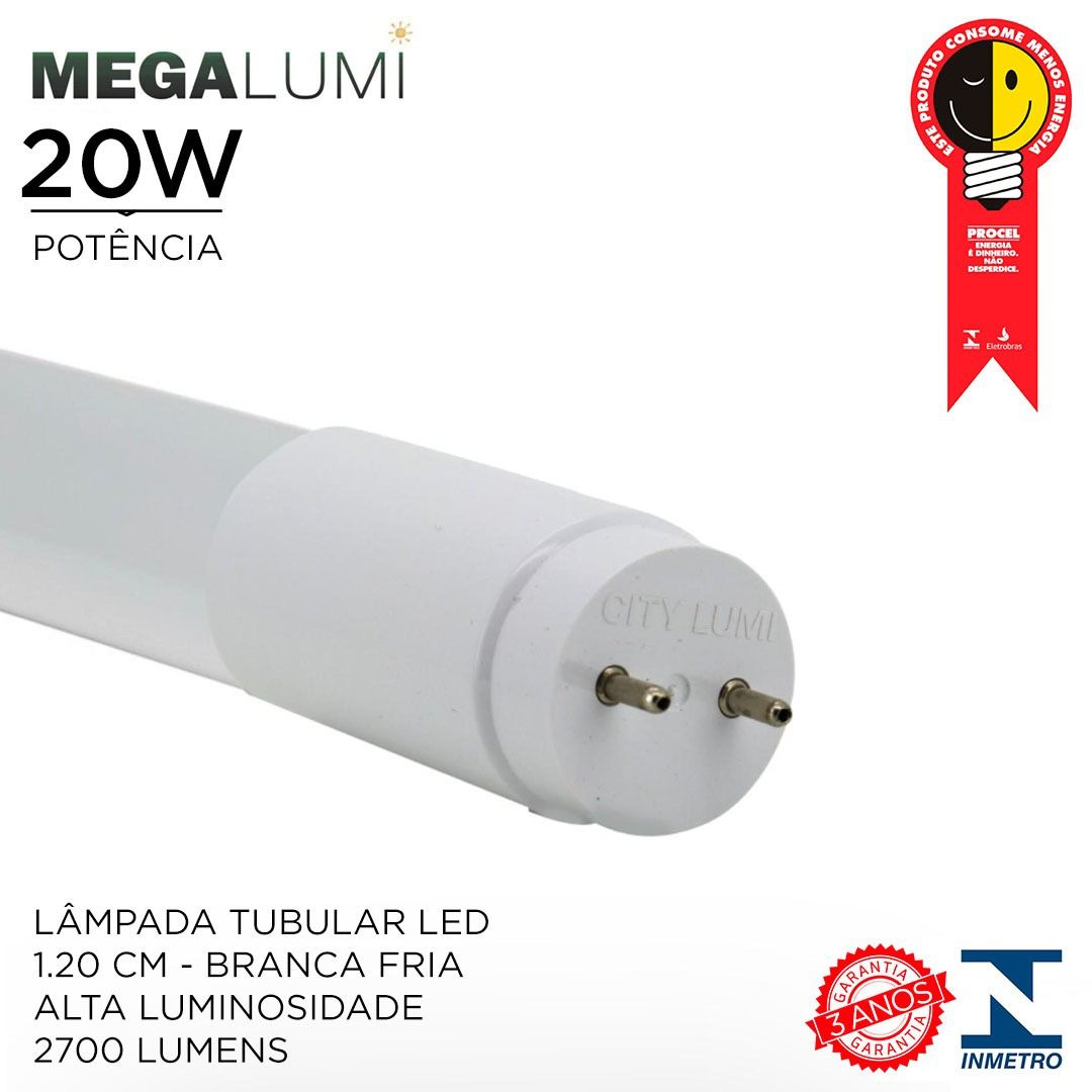 Lâmpada Tubular Led T8 ALTA LUMINOSIDADE  2.700 LUMENS 1.2M 20W - LUZ BRANCO FRIA 6000K /Com INMETRO e PROCEL