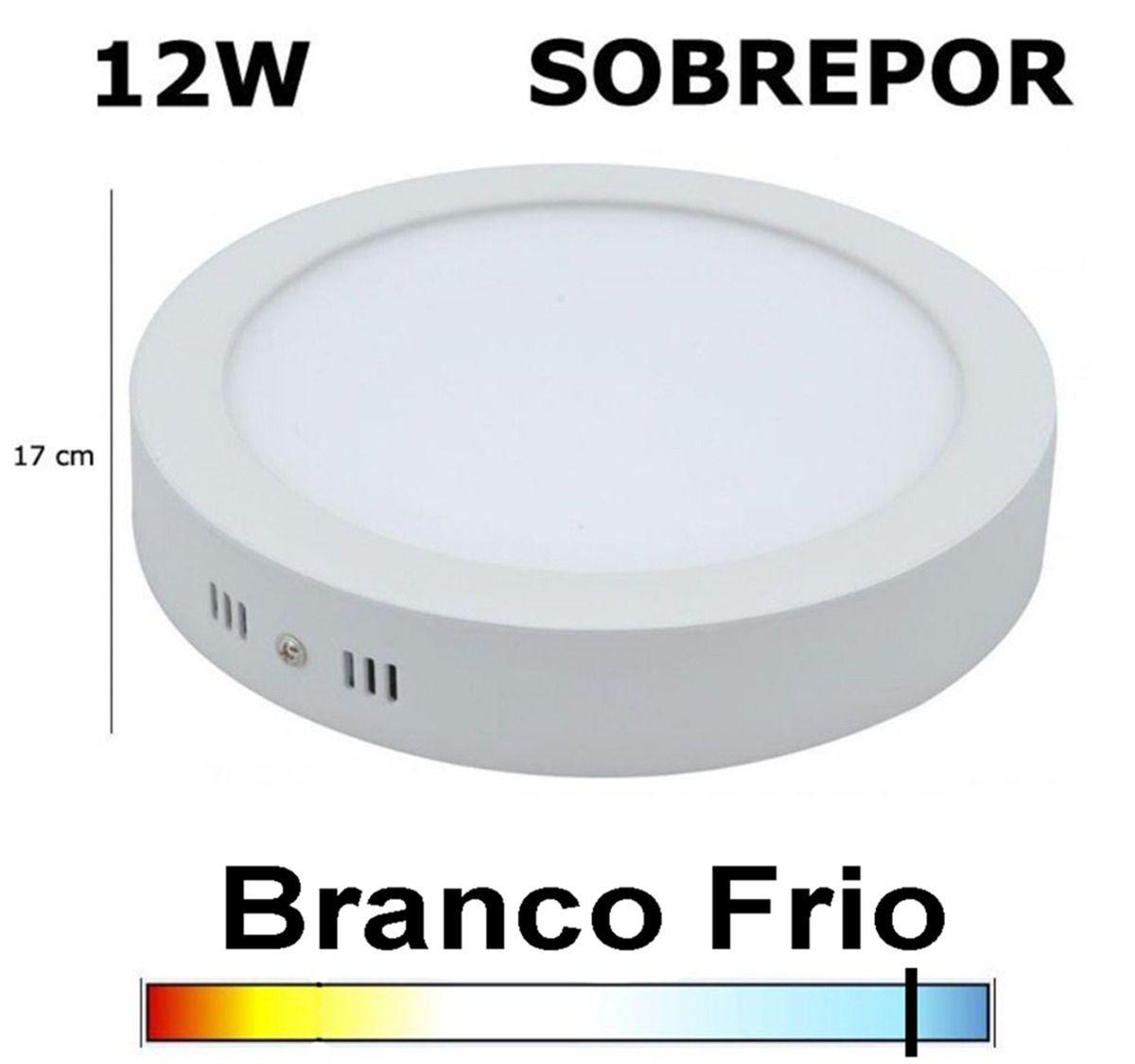 Luminária Painel Plafon LED  12w Redondo Sobrepor Branco Frio  - Bivolt