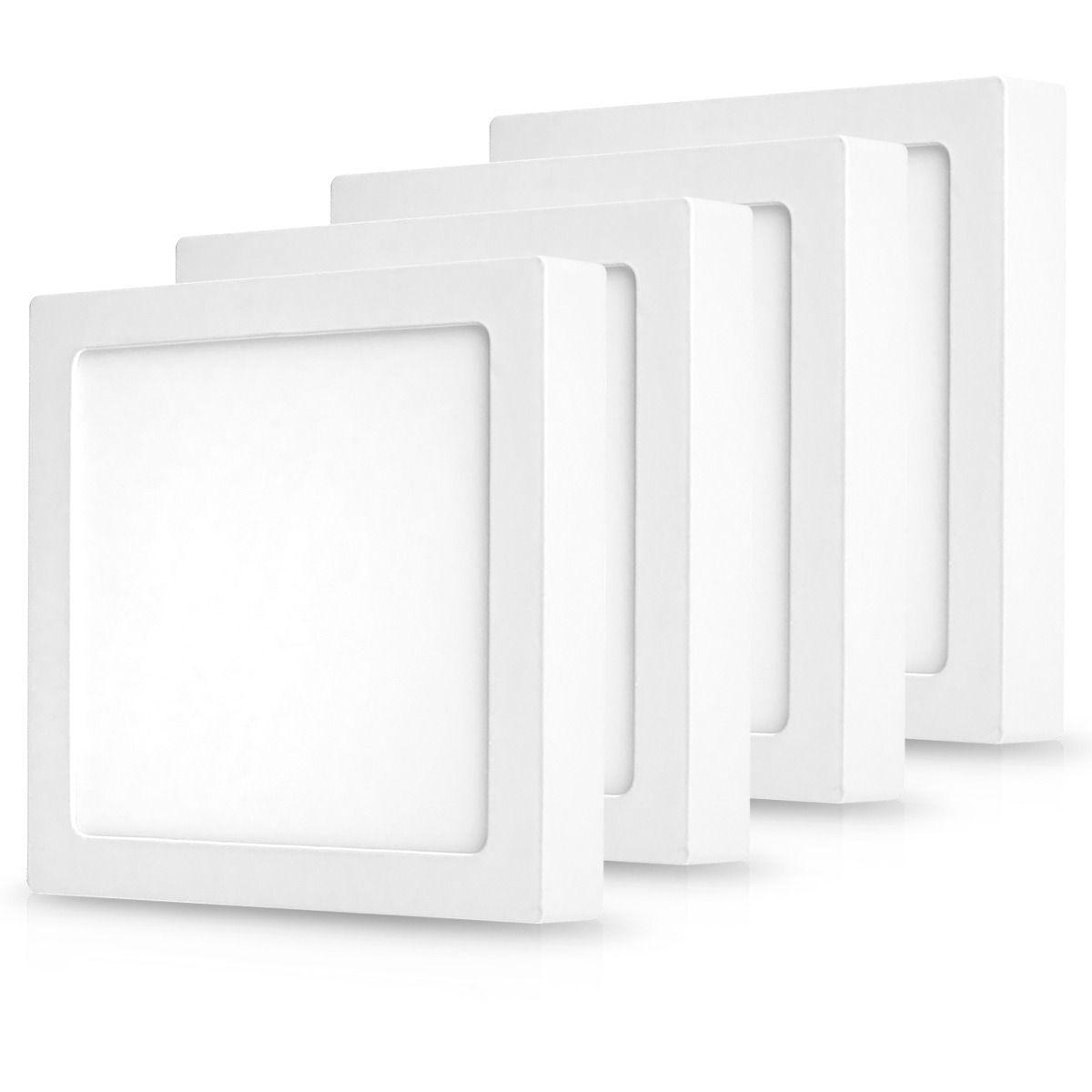 Luminária Painel Plafon Led Quadrado Sobrepor 24W luz quente 3000k