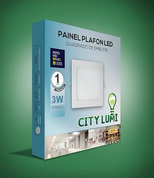 Painel Plafon 3w Luminária Led Embutir Quadrado 4500k Luz morna/Neutra