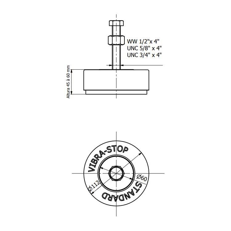 Amortecedor de vibração VIBRA-STOP - STANDARD