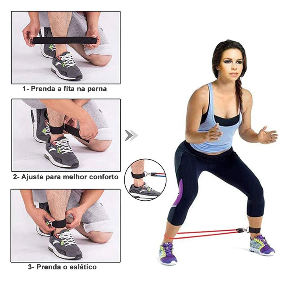 Kit Elástico Extensor 11 Itens Musculação Funcional Yoga Em Casa