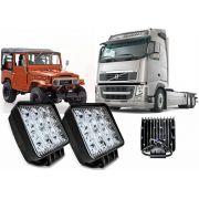 Farol 16 Leds Milha Off Road Quadrado 48w PAR Troller Jeep 12v 24v Caminhão Volks Volvo Fh Ford Scania