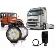Farol Led Milha Redondo 27w PAR Troller Jeep 12v 24v Off Road Caminhão Volks Volvo Fh Ford Scania
