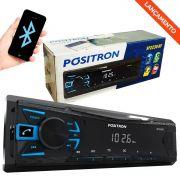 MP3 Player Automotivo Pósitron SP2230BT 1 Din LED Bluetooth USB Rádio FM WMA