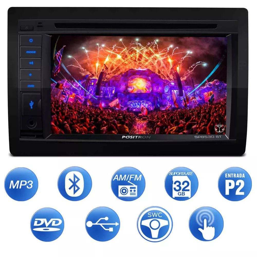 Central Multimídia Pósitron SP8530 BT 2 Din 6.2 Pol Touch Espelhamento Bluetooth USB CD DVD MP3 FM