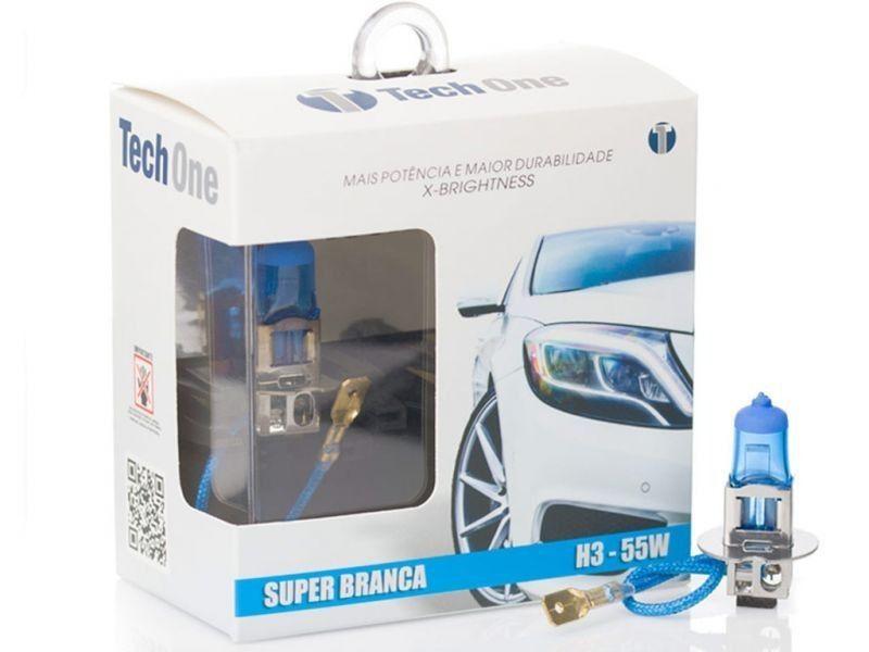 Lâmpada Super Branca H3 55W 12V Efeito Xênon 8500K