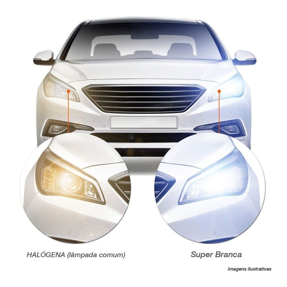 Lâmpada Super Branca HB3 55W 12V Efeito Xênon 8500K