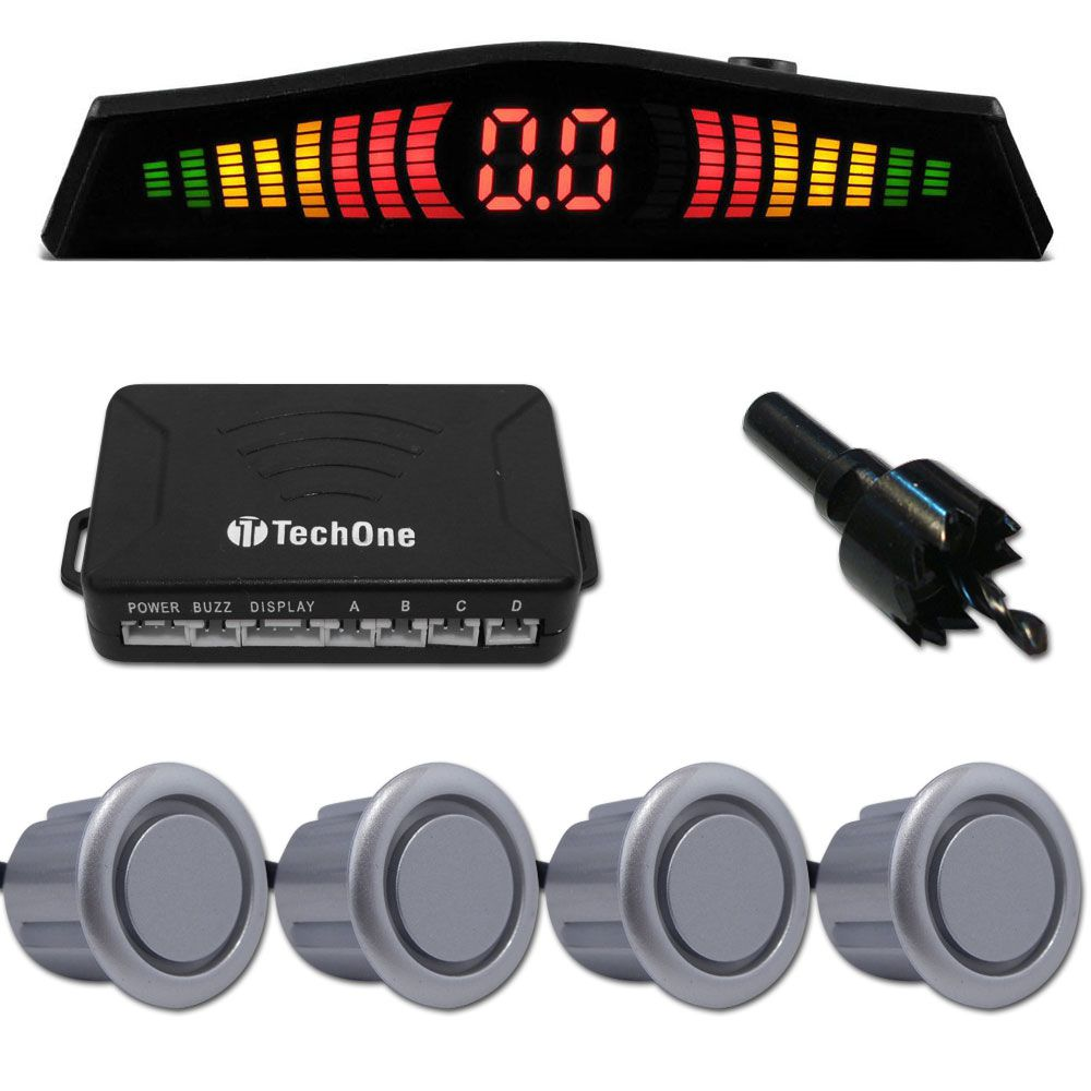 Sensor de Estacionamento 4 Pontos C/ Display em Led Colorido Meia Lua Universal