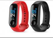 Relógio Inteligente Smartband M3 Sport  (1 par) Preto + Vermelho (Pedômetro Km Kcal PA FC Sono)