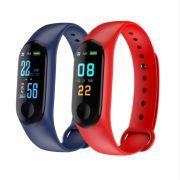 Relógio Inteligente Smartband M3 Sport  (1par) Azul + Vermelho (Pedometro Km Kcal FC PA Sono)