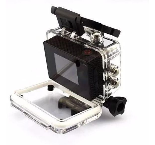 Câmera Filmadora Sports Full HD 1080p Aprov D'Agua + cartao memoria 16gb + Kit Bastao Monopod e Boia Flutuadora