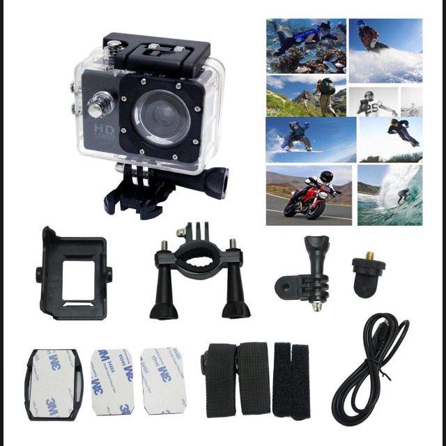 Câmera Filmadora Sports Full HD 1080p Aprov D'Agua  + Cartao Memoria 32gb + Kit Bastao Monopod e Boia flutuadora
