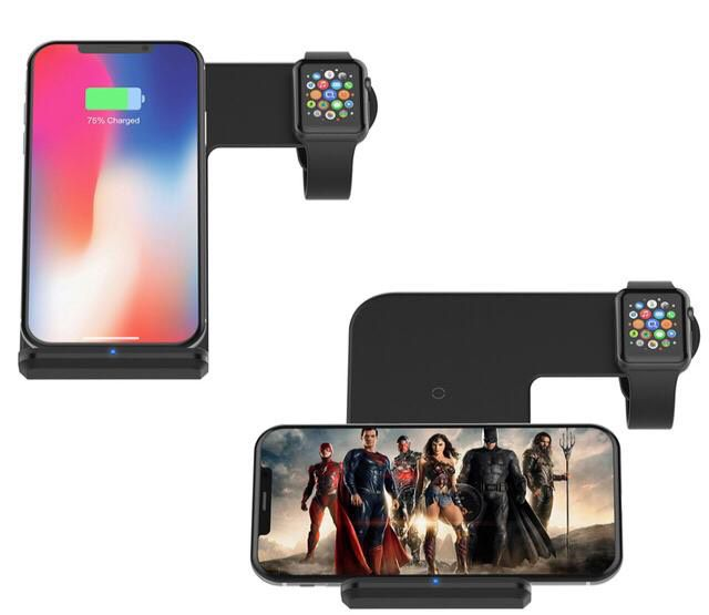 Carregador Indução Wireless Sem Fio 2 em 1 Iphone Apple Watch Preto