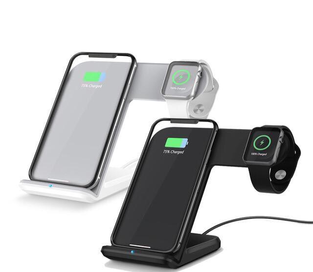Carregador Indução Wireless Sem Fio 2 em 1 Iphone Apple Watch Branco