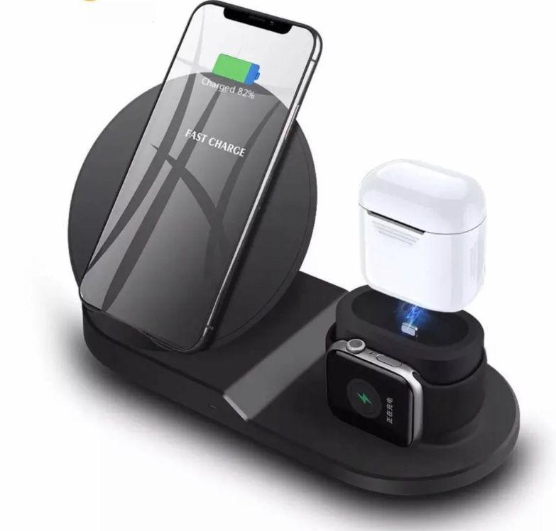 Carregador Por Induçao Wireless Sem fio 3 em 1 Phone Watch Earphone