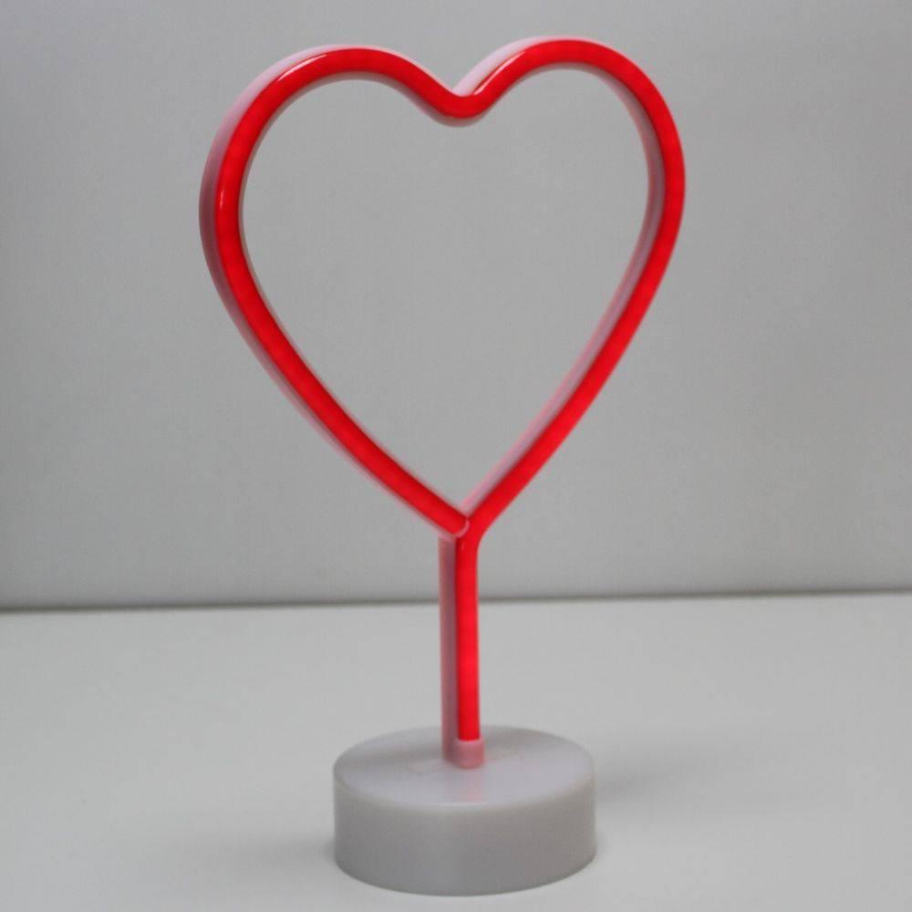 Luminária de Mesa Led Neon Coração Vermelho