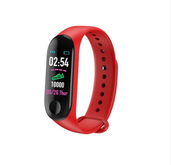 Relógio Inteligente Smartband M3 Sport  Vermelho (Pedometro Km Kcal FC PA Sono)