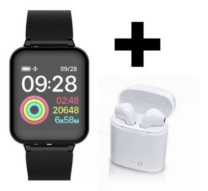 Relogio Inteligente Smartwatch B57 Preto Hero 3 + Fone de Ouvido Bluetooth  i12 touch