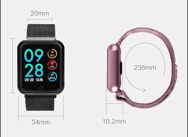 Relogio Inteligente Smartwatch P80 Rosa  2 Pulseiras Pedometro Multiesportes Redes Sociais