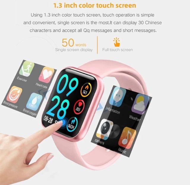 Relogio Inteligente Smartwatch P80 Rosa Pedometro Multi-esportes Km Kcal FC PA Sono