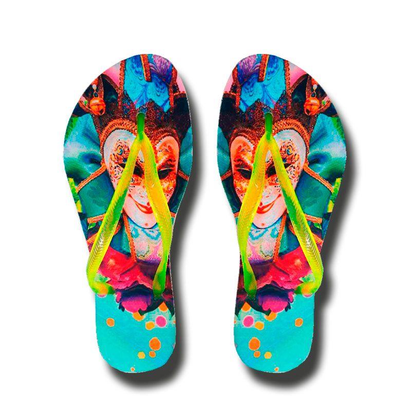 Chinelo Carnaval Máscara - Tira neon