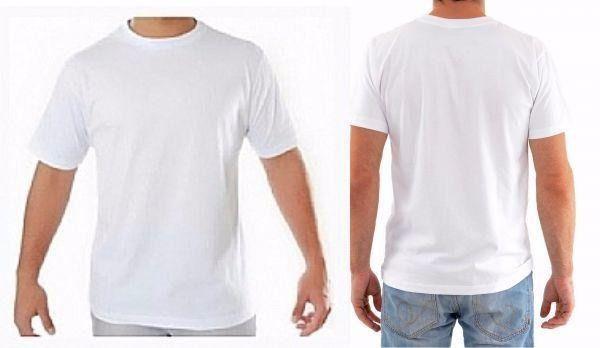 Camiseta Branca Masculina Manga Curta Para Sublimação   - Via Silk