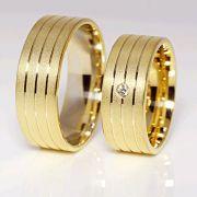 Alianças Casamento Noivado Ouro Acabamento Fosco e Friso Liso 7,5mm - A106