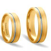 Alianças Casamento Noivado Ouro Branco e Amarelo Acabamento Fosco e Friso Liso 6,5mm - A170