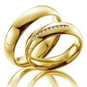Alianças Casamento Ouro Acabamento Liso com Diamantes - A3006