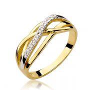 Anel Noivado Ouro Branco e Amarelo Cravejada Diamantes 2,5mm - A238