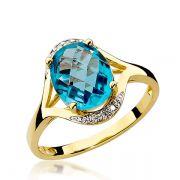Anel Noivado Ouro com Topázio e Diamante 2mm - A240