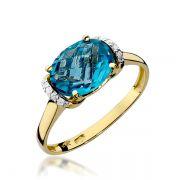 Anel Ouro com Topázio Azul 2mm - A242
