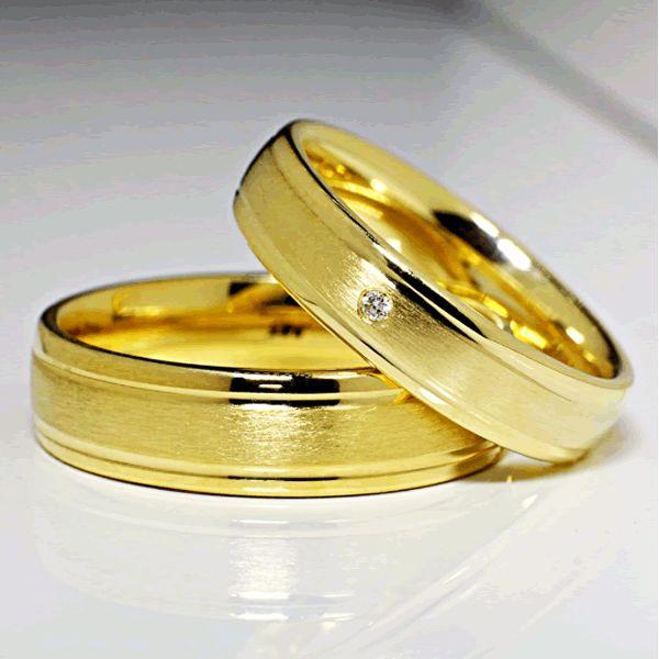 Alianças Casamento Ouro Trabalhada 6,5mm - A096