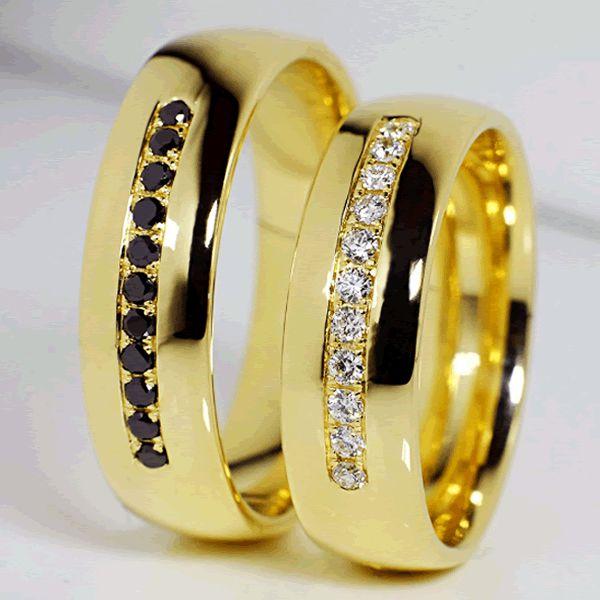 Alianças Casamento Ouro com Diamantes 7mm - A116