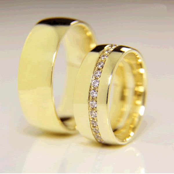 Alianças Casamento Ouro Lisas Quadrada 7mm - A120