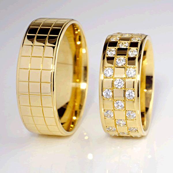 Alianças Casamento Ouro Lisas 8mm - A122