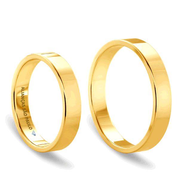 Alianças Casamento Ouro Quadrada Acabamento Liso 5mm - A132