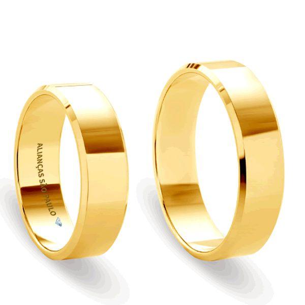 Alianças Casamento São Paulo Ouro 6mm - A046